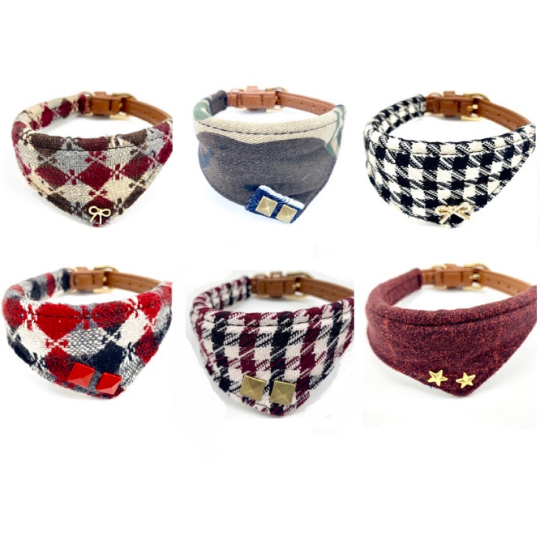 Harlequin dog collar bandana burgundy leather
