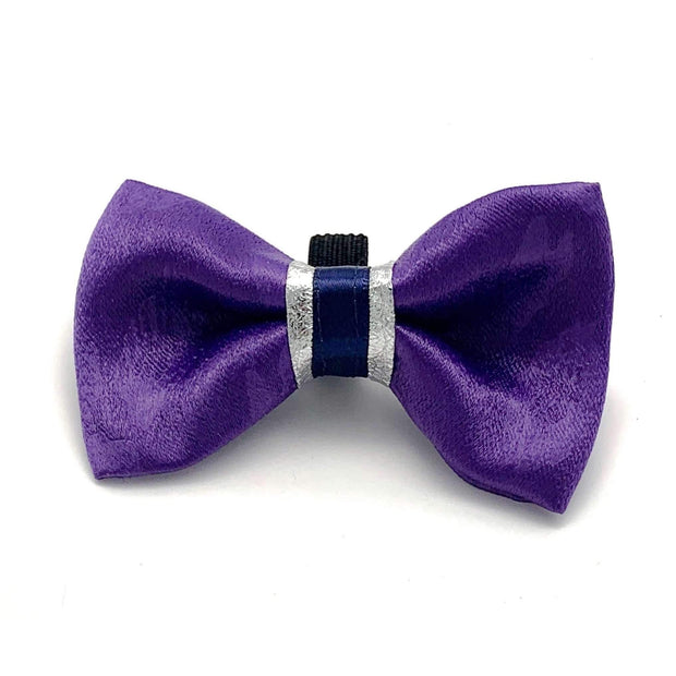 fenrir fashion purple leopard silver blue stripe dog bowt tie - puccissime pet couture