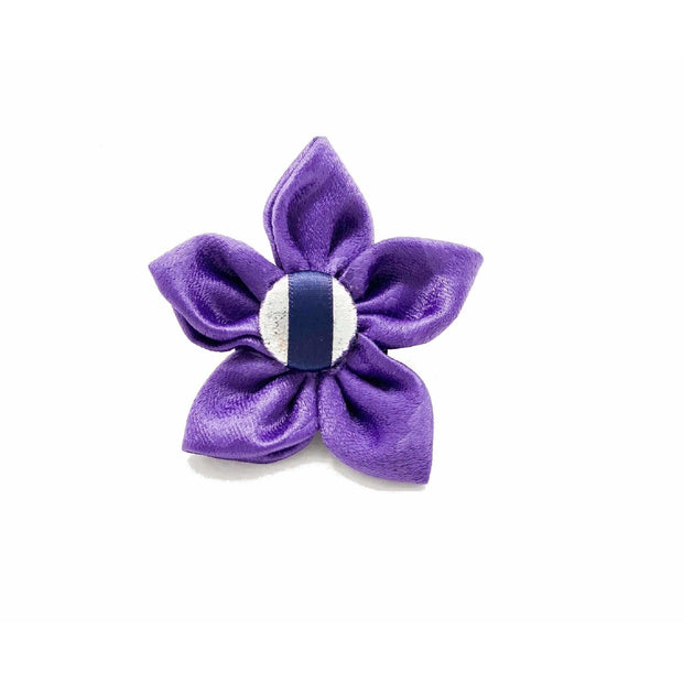 fenrir fashion purple leopard silver blue stripe dog flower accessory - Puccissime pet couture