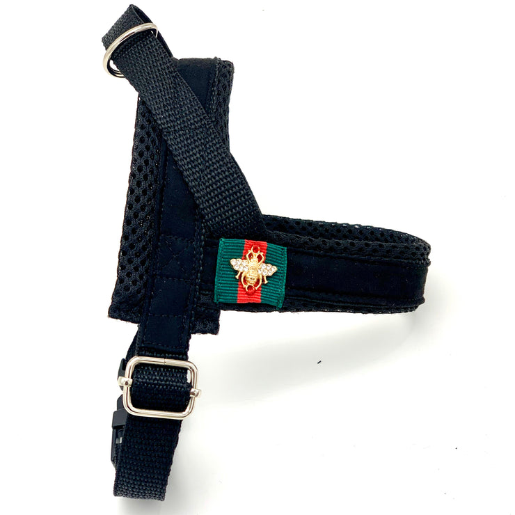 Black jaguar one-click harness-Dog harness-Puccissime Pet Couture