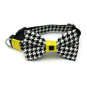 Yellow houndstooth dog collar & bow tie set
