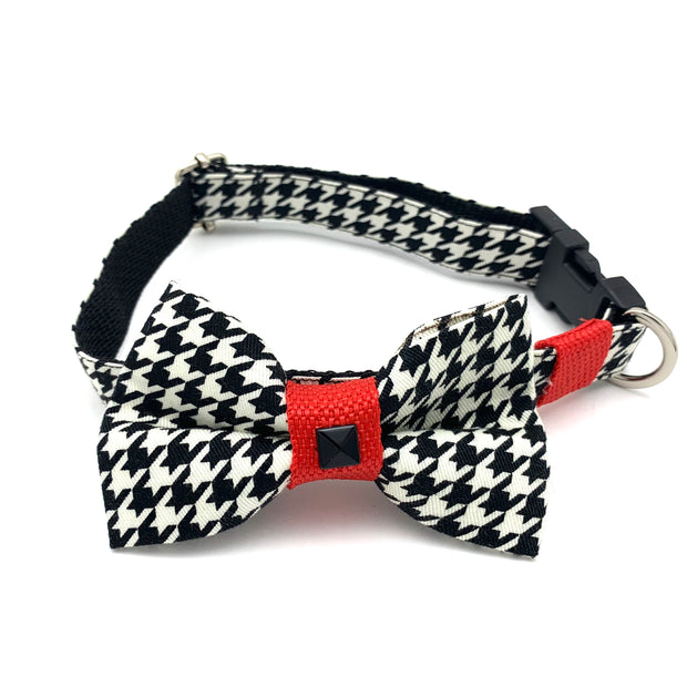 Red houndstooth collar & bow tie set- Dropship