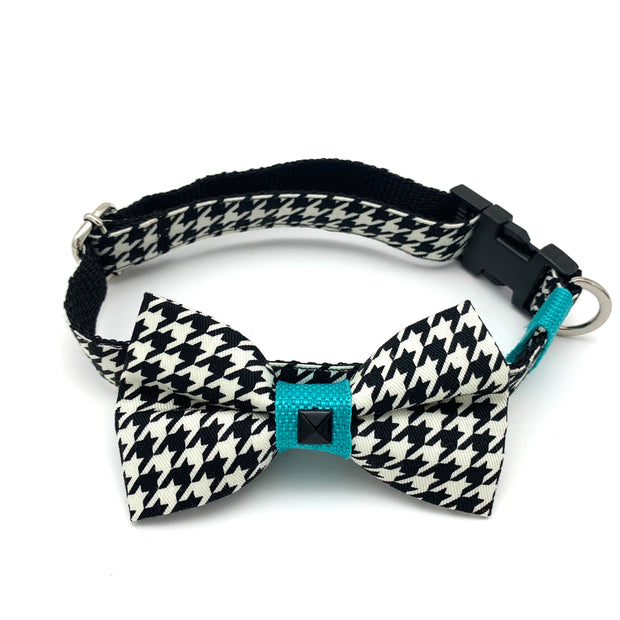 Turquoise houndstooth dog collar & bow tie set