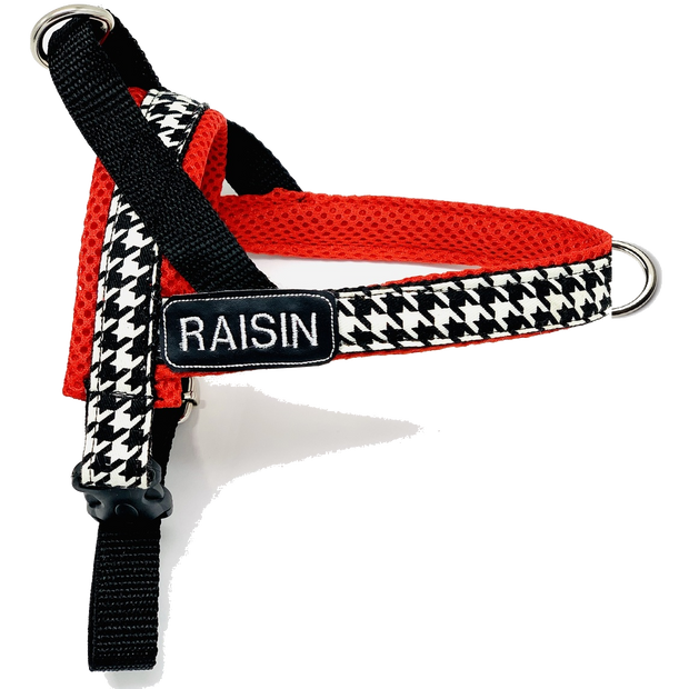 Personalized houndstooth no pull dog harness- Norwegian easy wear style - Customized embroidery ID tag-Black, white and red