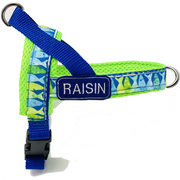 Personalized neon blue ocean dog no pull no pressure one-click harness