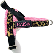 Personalized no pull dog harness- Norwegian easy wear style - Customized embroidery ID tag - pink leopard animal print