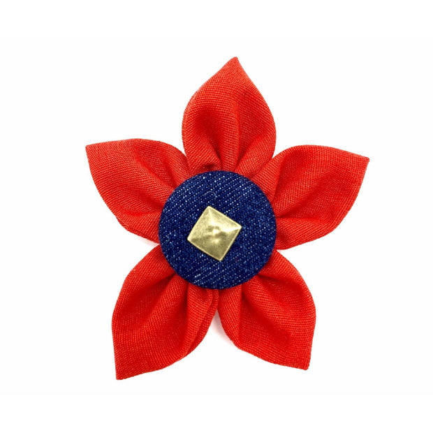 Frayed denim & red dog collar flower accessories with bronze studs - Puccissime Pet Couture
