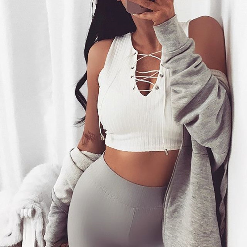 Sexy v neck Crop Top - CLASSIQUE WEAR-