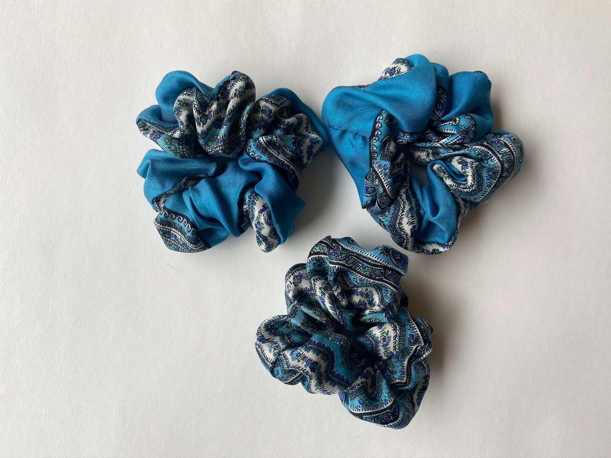 Upcycled Silk Scarf Scrunchie - Blue Liberty of London Print