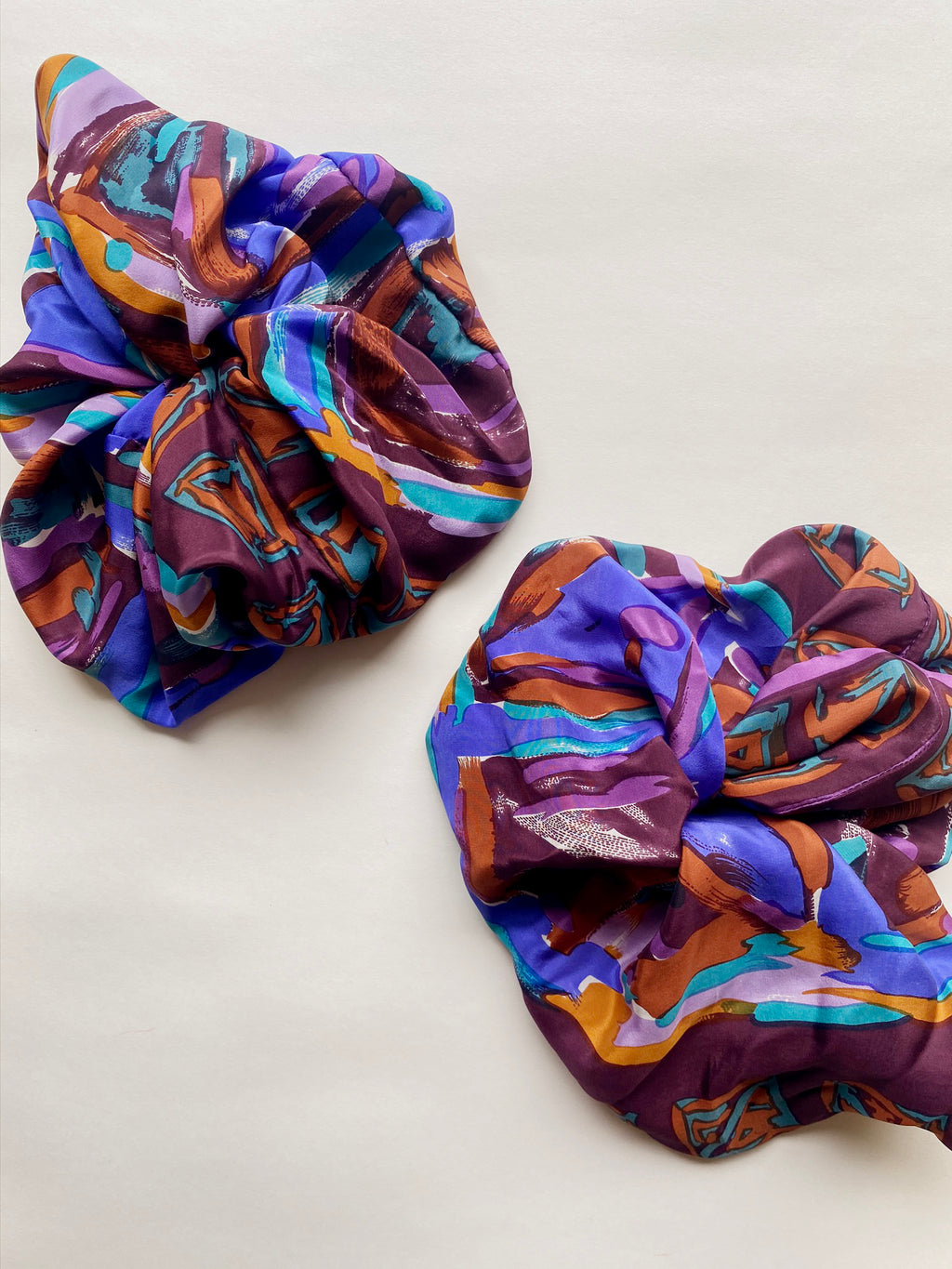 Upcycled Silk Scarf Scrunchie - Plum and Blue Abstract Print