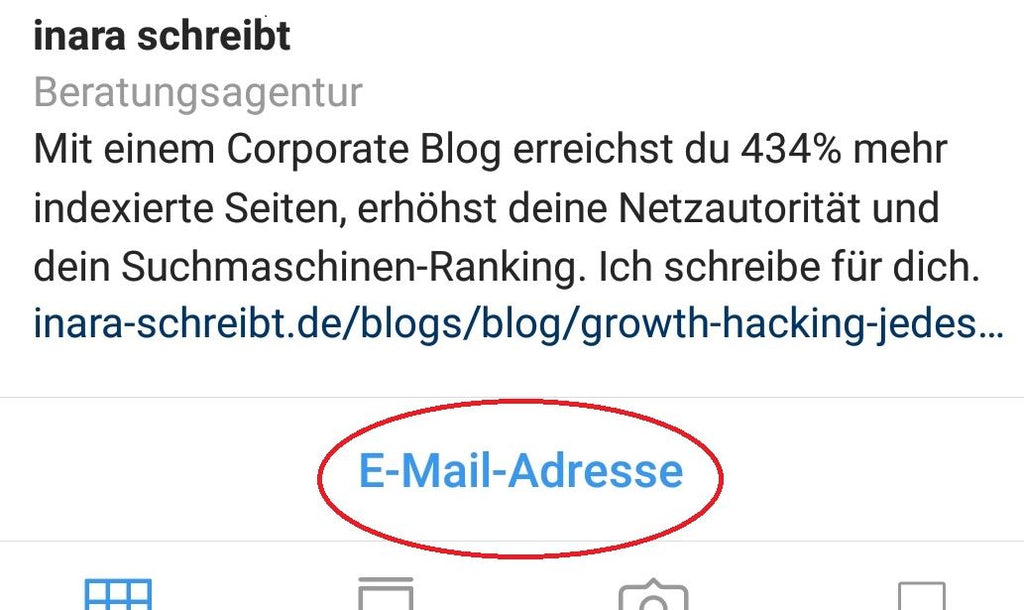 Kontakt-Button im Instagram Business Account - inara schreibt