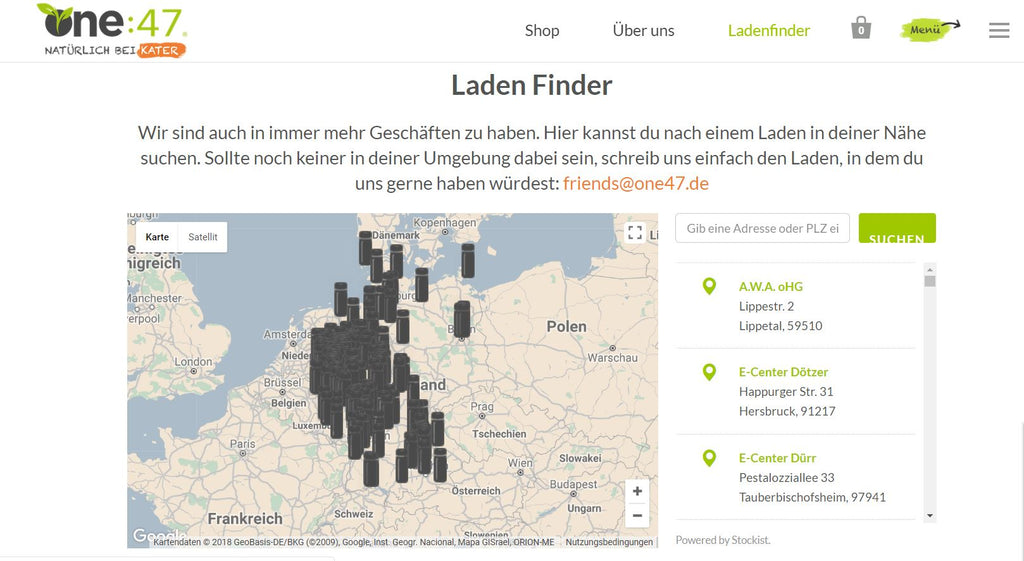Laden Finder auf der Homepage - Shopify.de