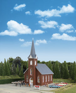 Walthers - Cornerstone Series - Brick Church - HO Scale (933-3496) - the-pennsy-station-llc