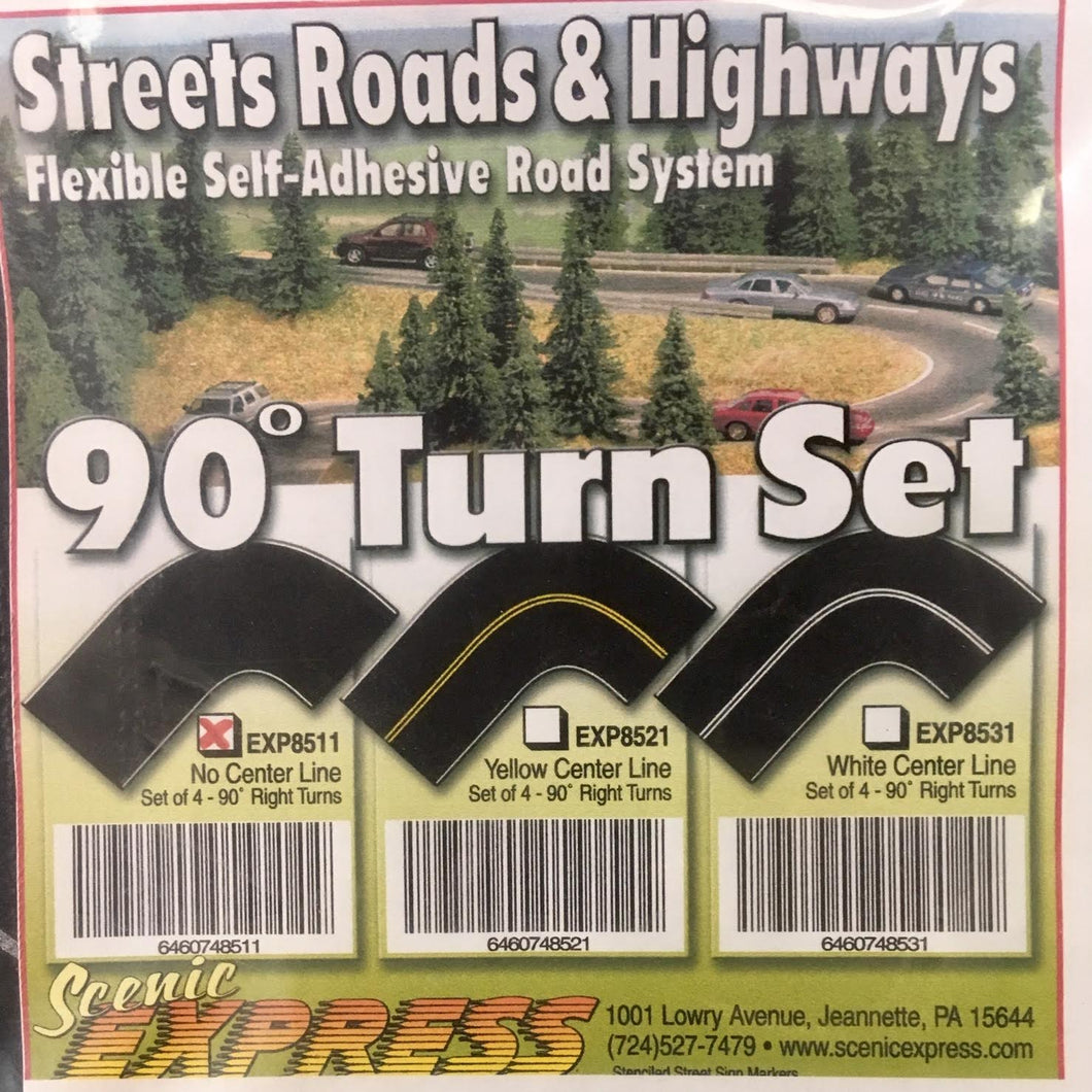 Scenic Express - Road System - 90 Degree Turn Set (EXP8511) - the-pennsy-station-llc