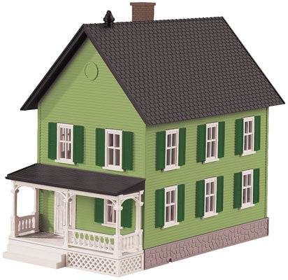 MTH/Railking - Row House w/ Porch - Green w/ Black Shutters - O Scale (30-90551) - the-pennsy-station-llc