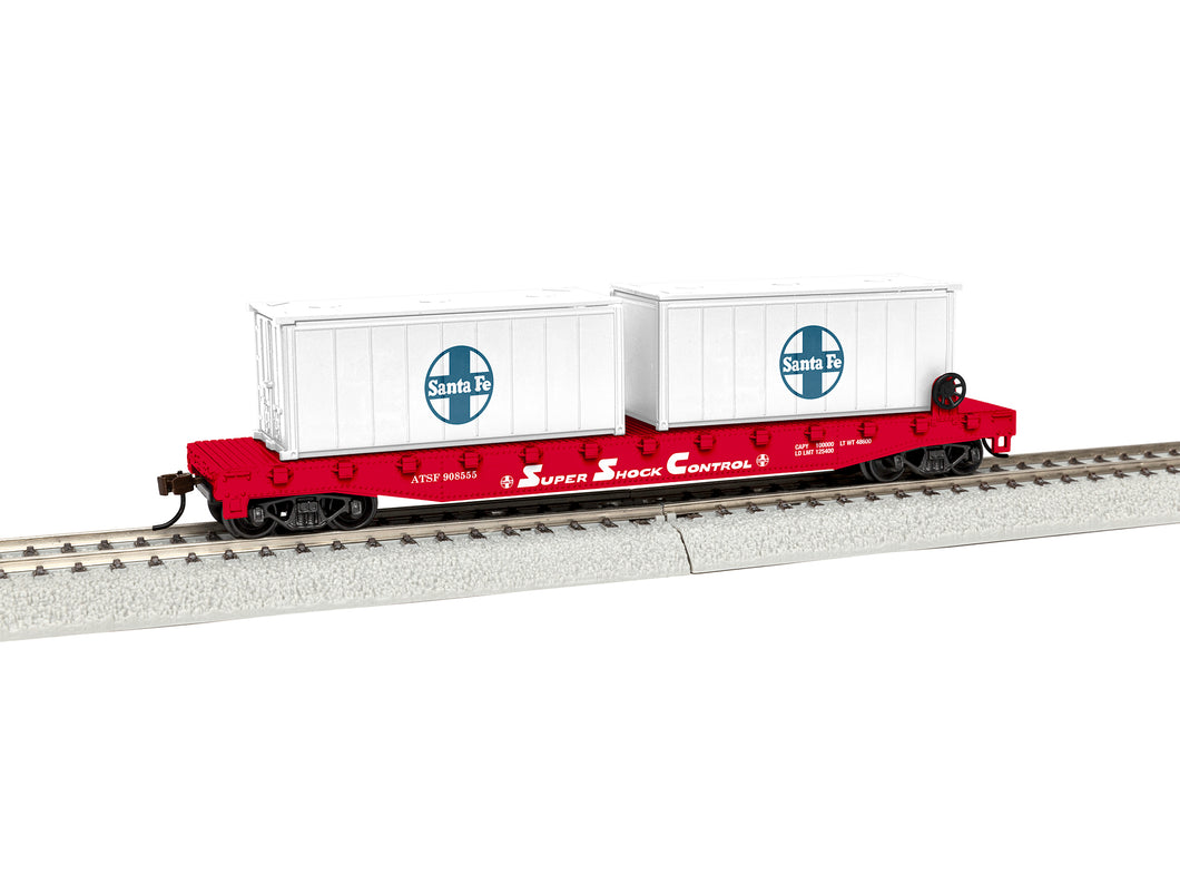Lionel - Santa Fe #908555 Flat Car w/ Containers - HO Scale (1954250) - the-pennsy-station-llc