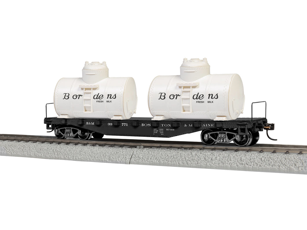 Lionel - Boston & Maine Flat Car w/ Water Tanks - HO Scale (1954430) - the-pennsy-station-llc