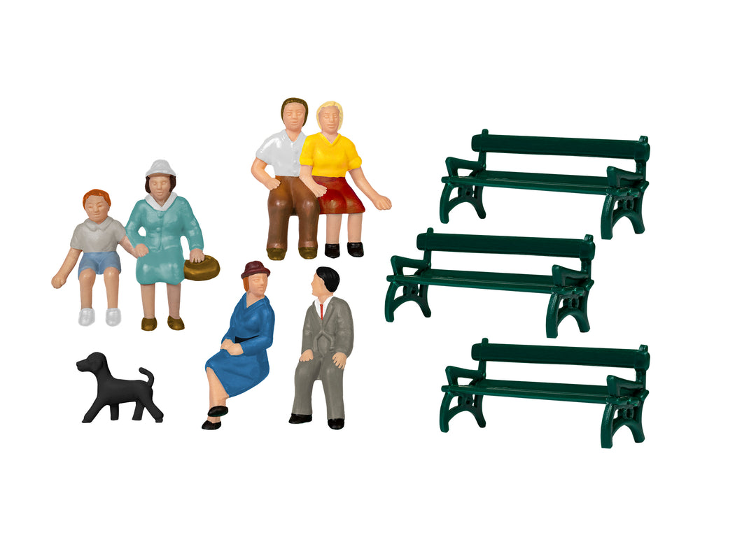 Lionel - Sitting Figures w/ Benches & Dog - HO Scale (1957200) - the-pennsy-station-llc