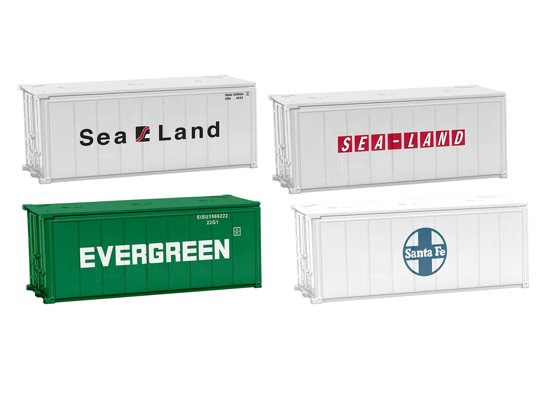 Lionel - 20' Shipping Containers 4-Pack Set A - HO Scale (1957280) - the-pennsy-station-llc