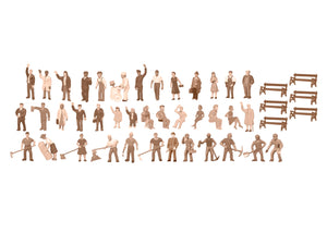 Lionel - Unpainted Figure Assortment 48-Pack - HO Scale (1967100) - the-pennsy-station-llc