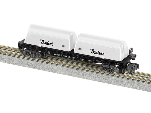 Lionel A/F - Bordens #1350 Milk Flat Car - S Scale (2019151) - the-pennsy-station-llc