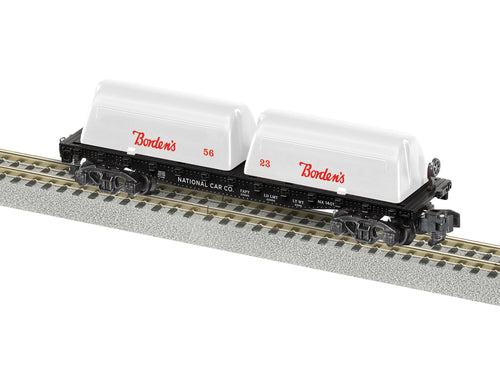 Lionel A/F - Bordens #1401 Milk Flat Car - S Scale (2019152) - the-pennsy-station-llc