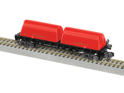 Lionel A/F - Bordens #1421 Milk Flat Car - S Scale (2019161) - the-pennsy-station-llc