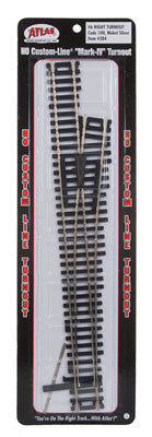 Atlas - HO Code 100 Snap-Track - #6 Right Turnout - HO Scale (#284) - the-pennsy-station-llc