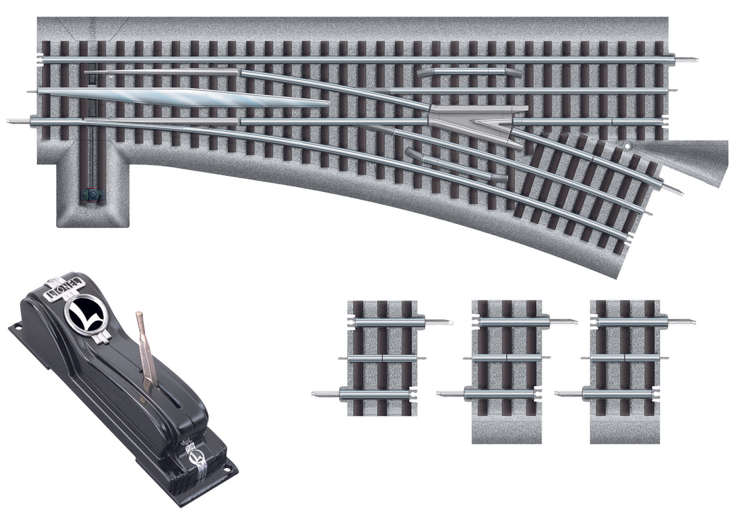 Lionel - Fastrack O72 Left-Hand R/C Switch - O Scale (6-81953) - the-pennsy-station-llc