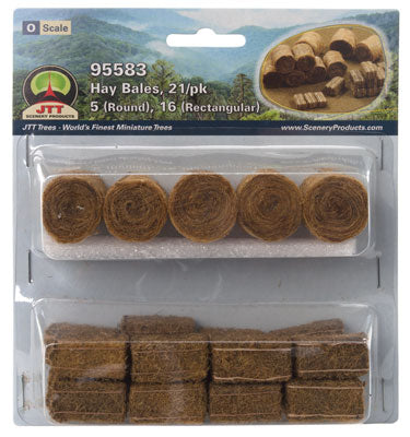 JTT - Hay Bales - 5 Round & 16 Rectangular- O Scale (95583) - the-pennsy-station-llc