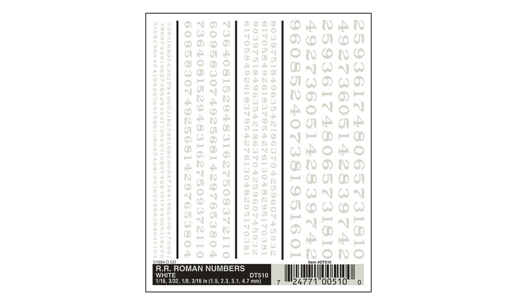 Woodland Scenics - Dry Transfer Decals - RR Roman# - White (DT510) - the-pennsy-station-llc