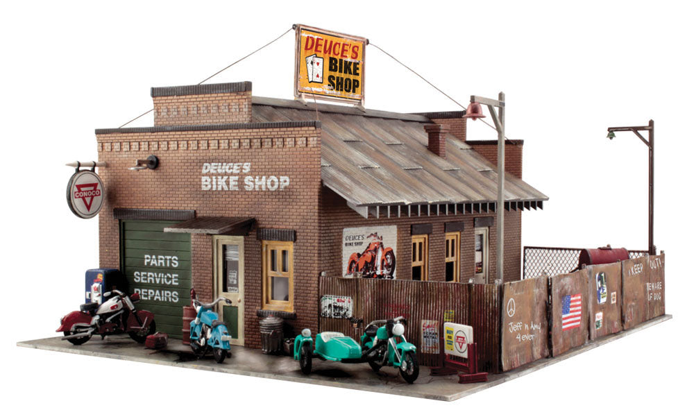 Woodland Scenics - Deuce's Bike Shop Building Kit - O Scale (PF5895) - the-pennsy-station-llc