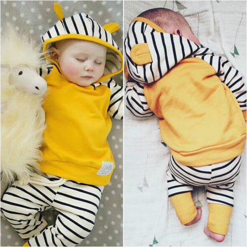 2018 Newborn Infant Baby Boys Girls Clothes Sets Long Sleeved Hooded Jacket + Striped Pants 2PCS Baby Clothes Suit 0-24 Months