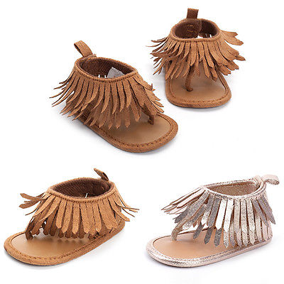 Newborn Baby Girl Crib Sandal Shoes Leather Tassels Soft Sole Sandals Infant Baby Shoes 0-12M