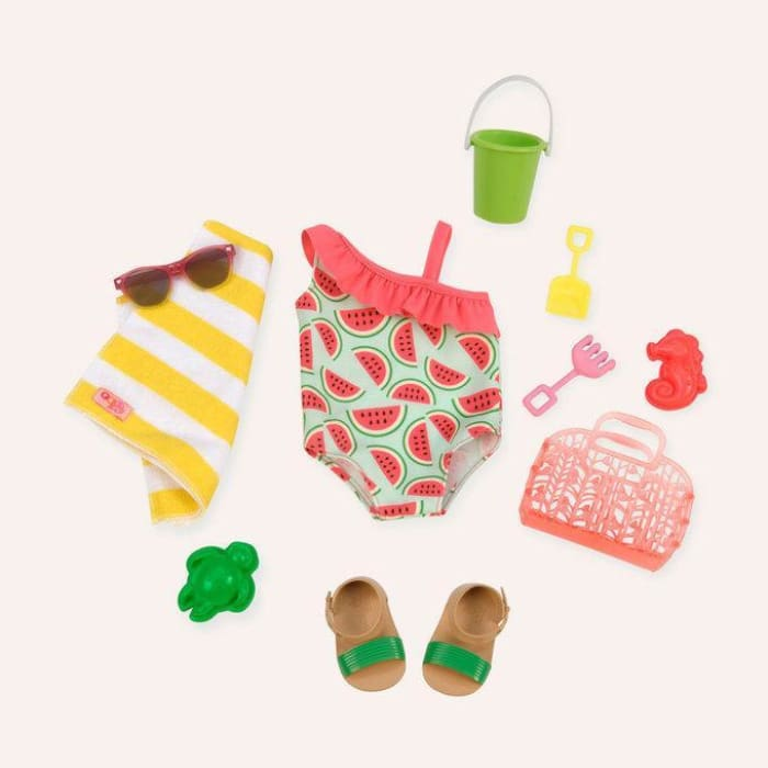 Our Generation Slice Of Fun Watermelon Regular Swim Outfit | Our Generation Clothes - 062243324114