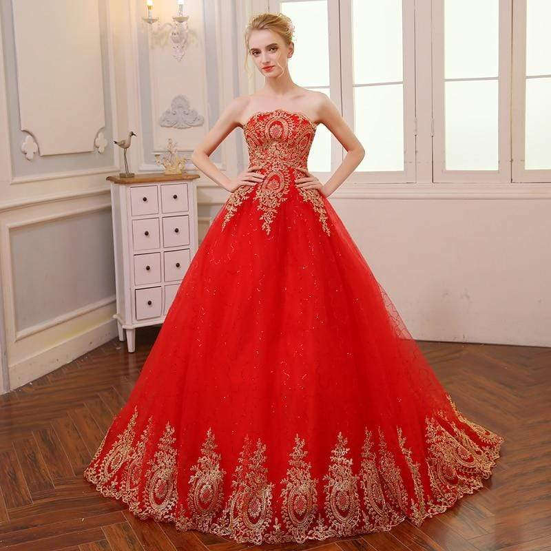 Vintage Lace Red Wedding Dresses Long Train Plus Size Ball Gown