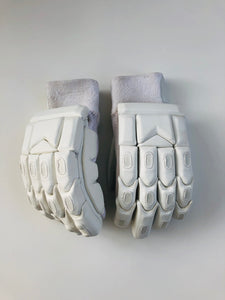 Ultimate All White Blank Cricket Batting Gloves - DKP Cricket Online