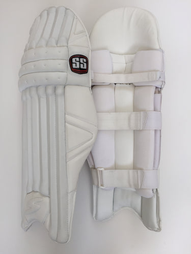 SS Pro Issue Cricket Batting Pads | All White Custom Made - DKP Cricket Online