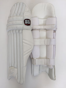 SS Pro Issue Cricket Batting Pads: All White Custom Made - DKP Cricket Online