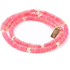 Hot Pink Treated Ethiopian Opals with Moonstone Choker Necklace