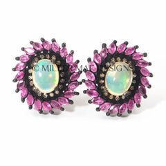 Vintage Ruby Ethiopian Opal Statement Earrings Studs