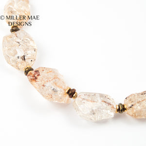 BRAZILIAN AMBER QUARTZ & SPINEL COLLAR NECKLACE