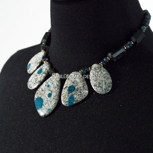 GRANITE/AZURITE, TOURMALINE, & LABRADORITE NECKLACE