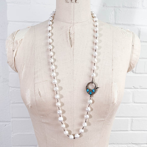 Pavé Diamond & Turquoise Clasp Baroque Pearl Necklace