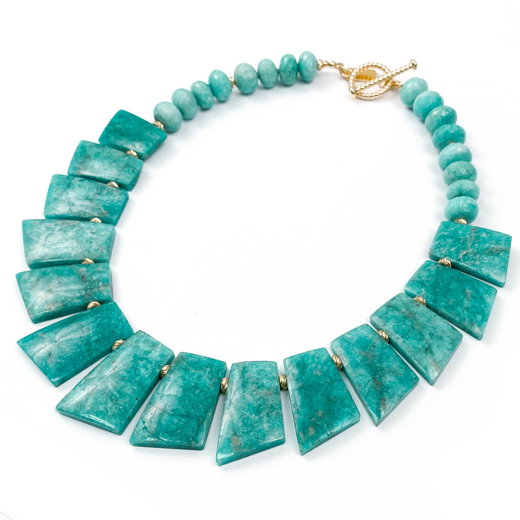 Reversible AAA Quality Amazonite 14k Gold Statement Necklace