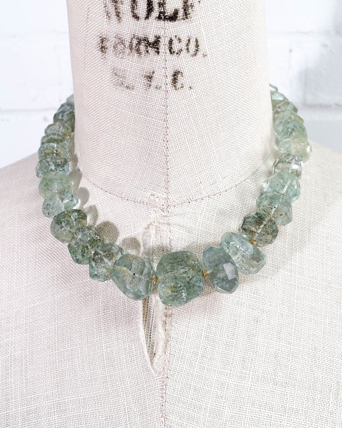 600 Carat Moss Aquamarine Nugget & 14k Gold Necklace