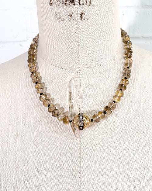 14k Gold Diamond Ball & 24k Gold Leaf Smoky Topaz Statement Necklace