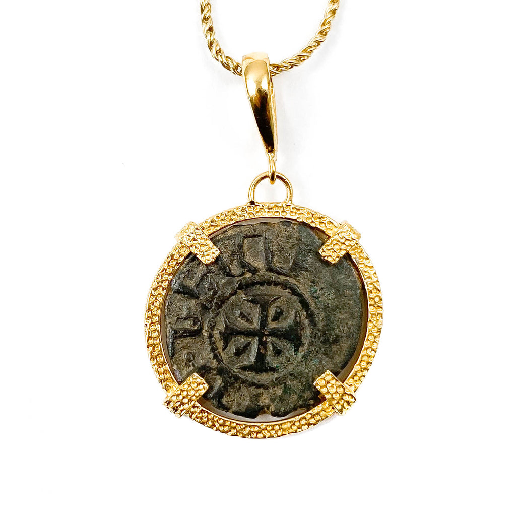 Genuine Ancient Coin of the Crusades Pendant Necklace (1250s A.D.)