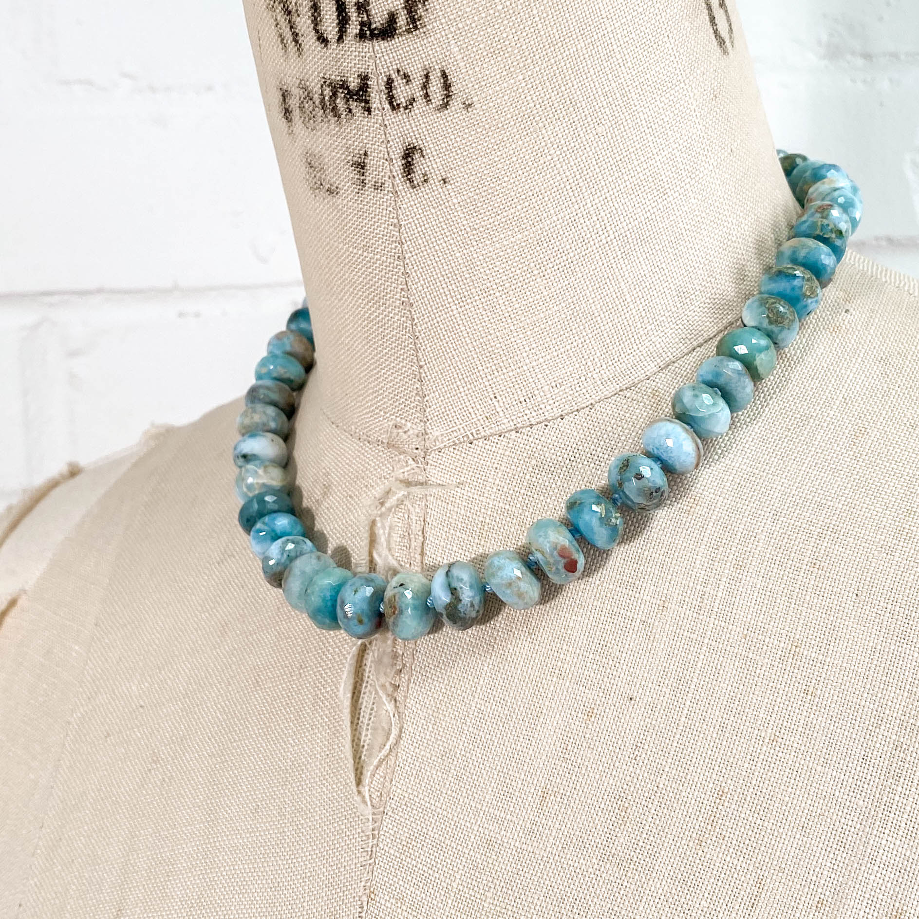 Large Hand-Knotted Larimar Necklace