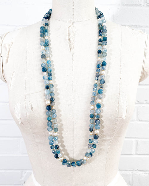 Blue Rutilated Quartz & Swarovski Glass Pearl Double Strand Necklace